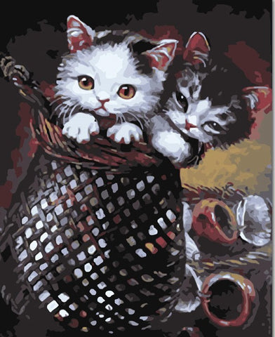Basket Licking Kitten Cat - Animals Paint By Numbers