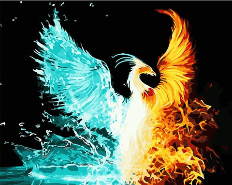 Fire and Ice Phoenix - Birds Paint By Numbers