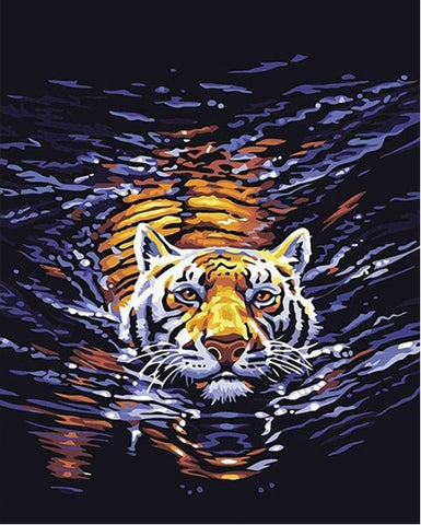 Tiger in Water - Animals Paint By Numbers