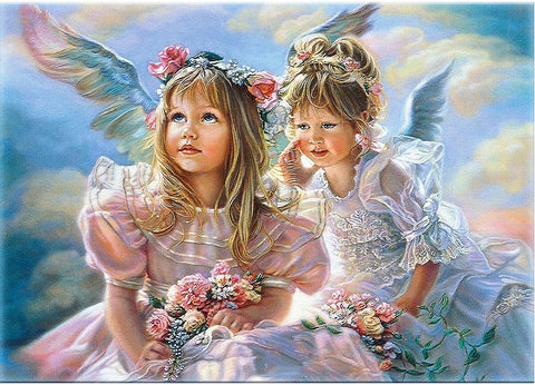 Angel Girls Wall Art Picture - DIY Paint By Numbers - Numeral Paint