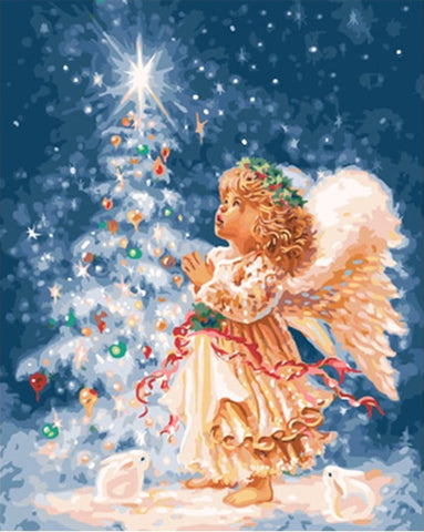Christmas Angel Calligraphy Painting Landscape , DIY Paint By Numbers