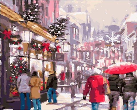 Christmas Street Acrylic Paint - DIY Paint By Numbers - Numeral Paint
