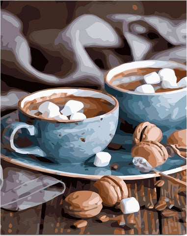 Coffee Kit Handpainted Oil Painting Unique Gift - DIY Paint By Numbers - Numeral Paint