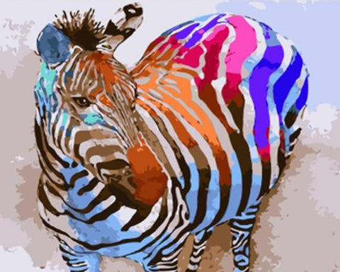 Colorful Zebra Animals - DIY Paint By Numbers - Numeral Paint