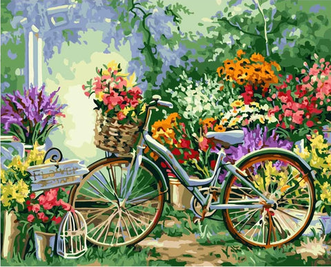 Painting By Numbers Bicycle Flowers Kits City - DIY Paint By Numbers - Numeral Paint