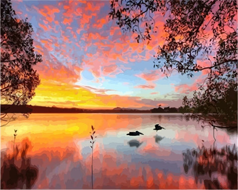 Picture Sunset Lake  - DIY Paint By Numbers - Numeral Paint