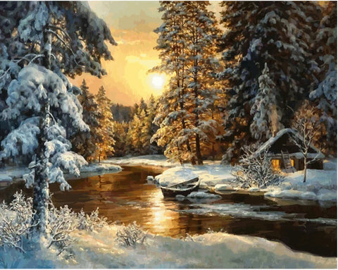 Picture Sunset Snow Landscape  - DIY Paint By Numbers - Numeral Paint
