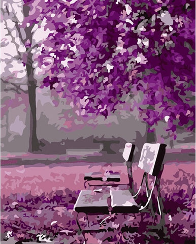 Purple Landscape - DIY Paint By Numbers - Numeral Paint
