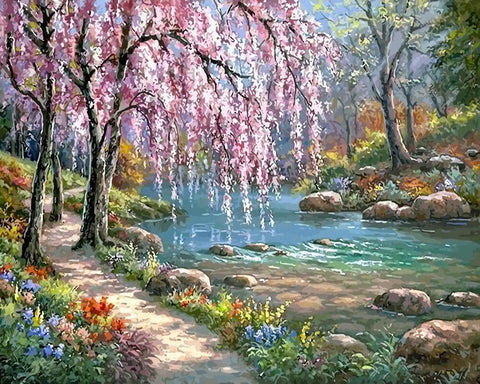 Cherry Blossom Tree Near River - Landscape Paint By Numbers