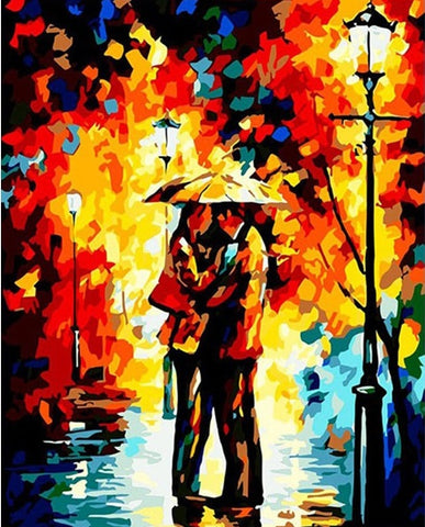 Romantic Lover Under Rain  - People Paint By Numbers