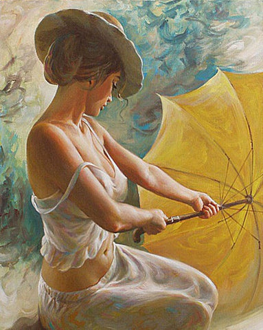 Sexy Umbrella Women Painting - DIY Paint By Numbers