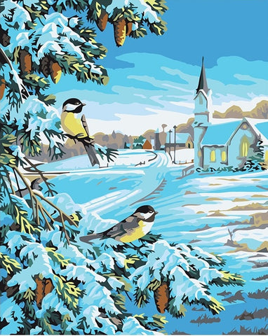 Christmas Snow Birds - Birds Paint By Numbers