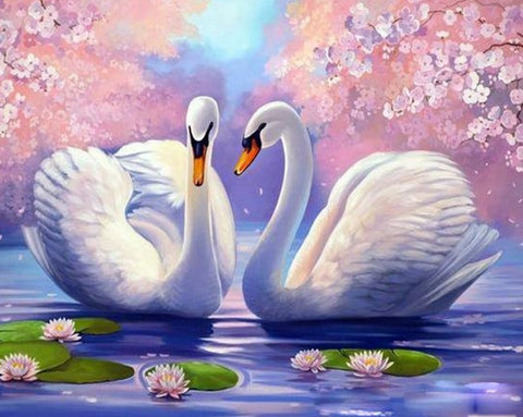 Swan Animals  Oil Painting Acrylic - DIY Paint By Numbers
