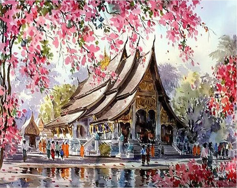 Cherry blossom Temple - Landscape Paint By Numbers