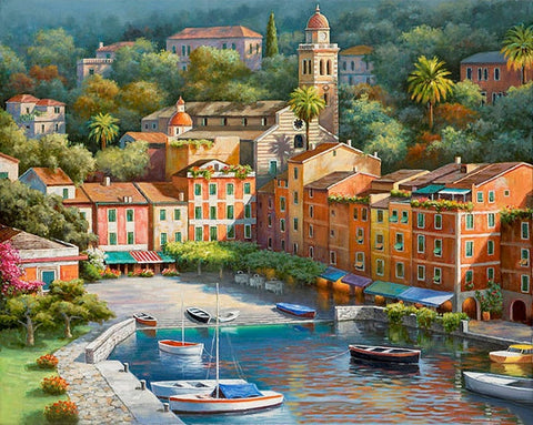 Italian Vilage Harbor  - Cities Paint By Numbers