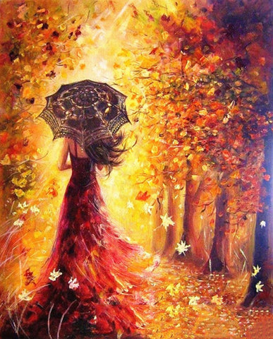 Women In Autumn Trees - Landscape Paint By Numbers
