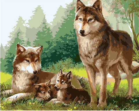 Wolfs Familly - Animals Paint By Numbers