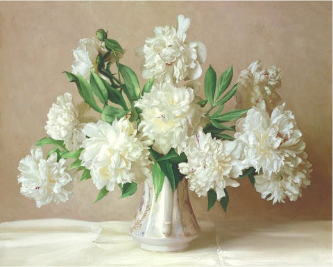 White Flowers Wall Acrylic Paint - DIY Paint By Numbers