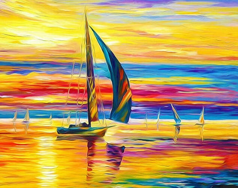 Colorful Sailing Boats- Seascape Paint By Numbers
