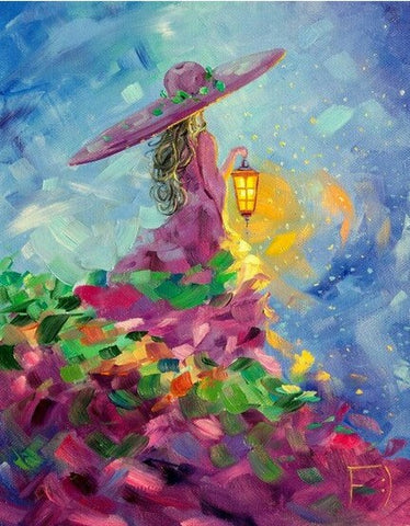 Woman Holding Lantern- People Paint By Numbers