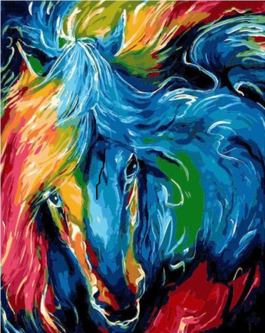 Colorful Horse City - DIY Paint By Numbers - Numeral Paint