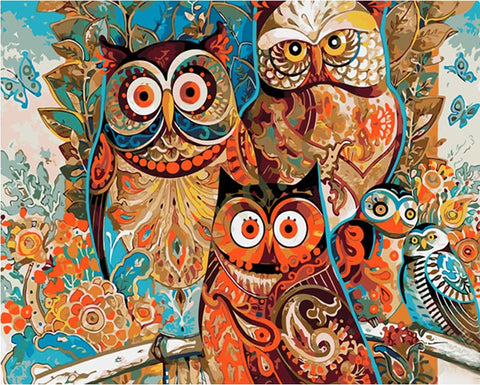 Vintage Owl Home Decoration - DIY Paint By Numbers