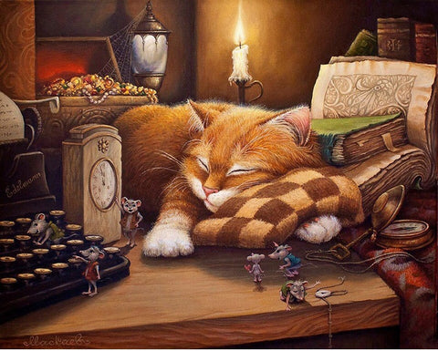 Sleeping Cat - Animals Paint By Numbers