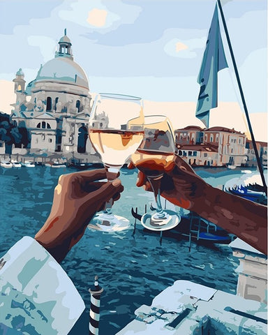 Toasting a glass at sunset - DIY Paint By Numbers