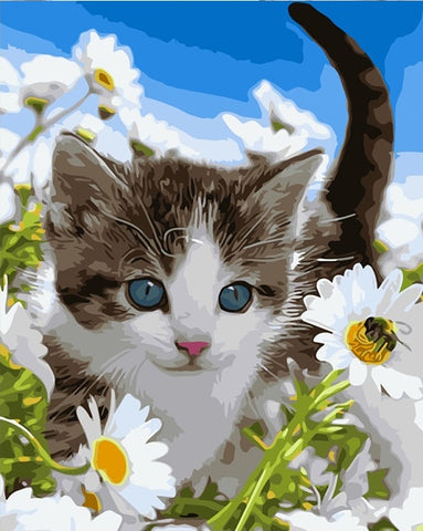 Flowers cat art picture - DIY Paint By Numbers - Numeral Paint