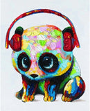 Mini Panda With Headphones- Animals Paint By Numbers