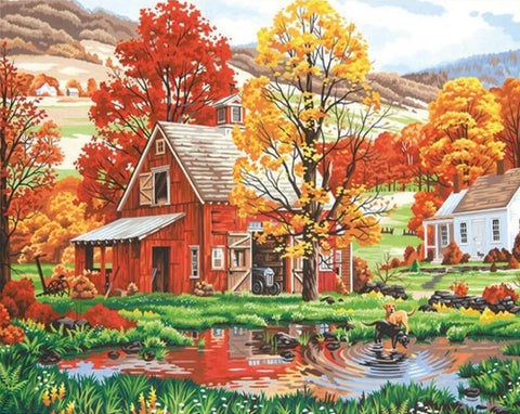 Autumn Farmhouse- Landscape Paint By Numbers