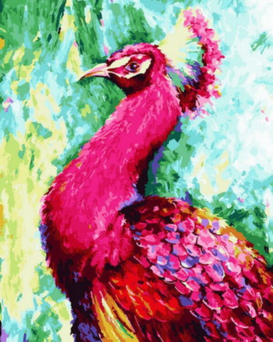 Pink Peacock - Birds Paint By Numbers