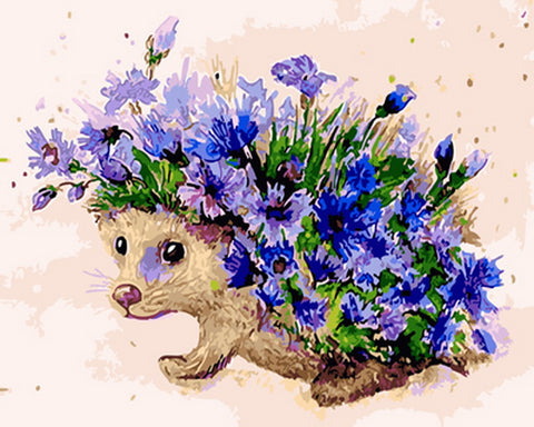 Hedgehog With Blue Flower- Animals Paint By Numbers