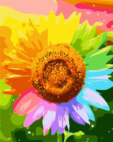 Colorful Sunflower-  Flowers Paint By Numbers