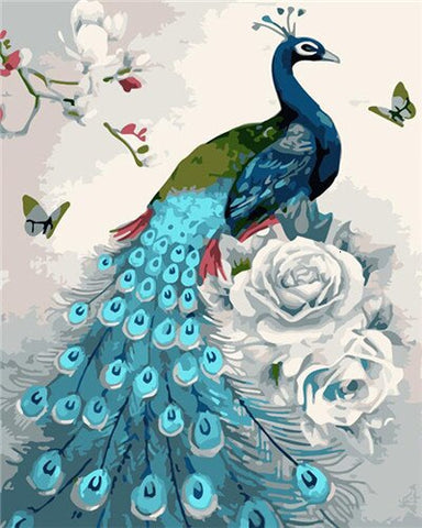 Sky Blue Peacock- Birds Paint By Numbers