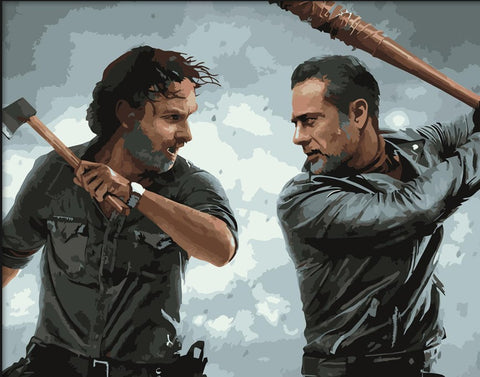 Negan and Rick Fight- People Paint By Numbers