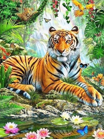 Tiger in The Virgin Forest- Animals Paint By Numbers