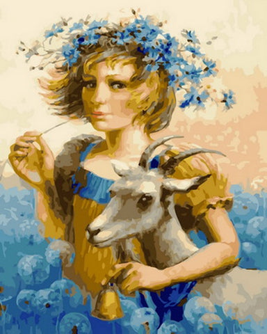 Girl With Goats- People Paint By Numbers