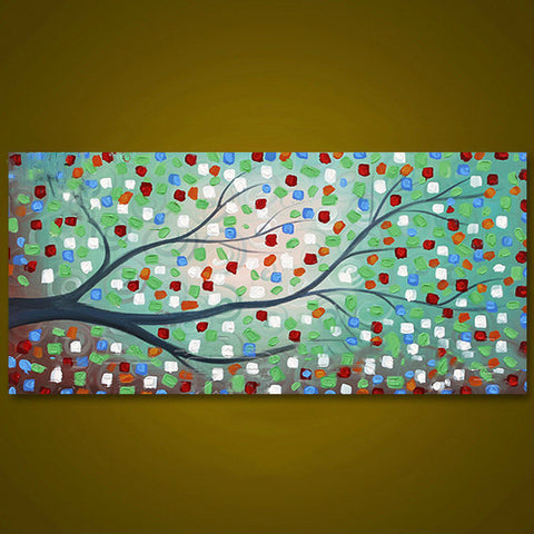 Tree Hand Painted On Canvas Picture - DIY Paint By Numbers