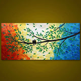Colorful Tree Birds Modern Hand Painted - DIY Paint By Numbers - Numeral Paint