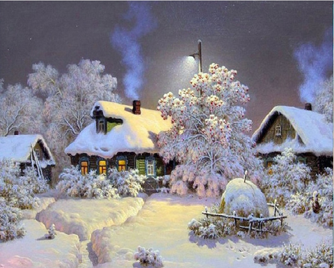 Winter Snow Villa - Cities Paint By Numbers