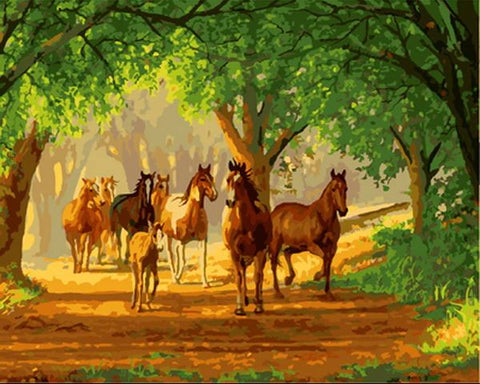 Country Lane Horses- Animals Paint By Numbers