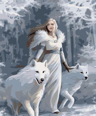 White Woman With White Wolves - DIY Paint By Numbers