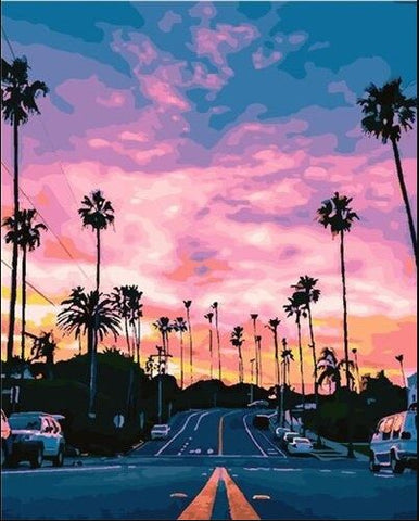 California Pink Sunset- Cities Paint By Numbers