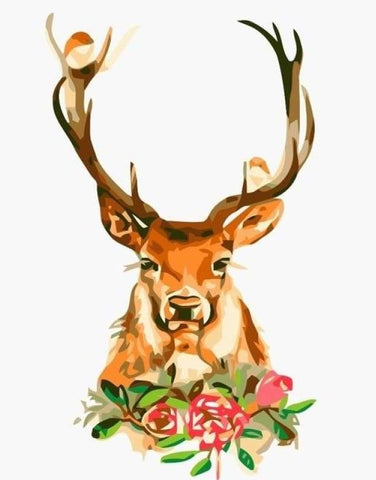 Deer Roses  - Animals Paint By Numbers