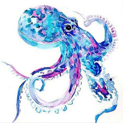 Blue Purple Octopus - Animals Paint By Numbers