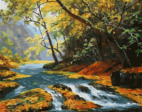 Maple Leaf River - Landscape Paint By Numbers