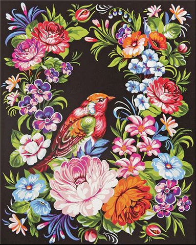 Bird and Ornate Flowers- Birds Paint By Numbers