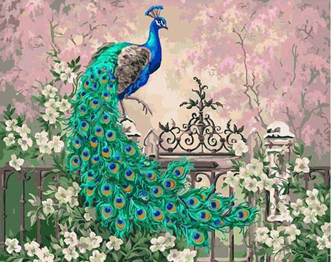 Peacock in the Flowers- Birds Paint By Numbers