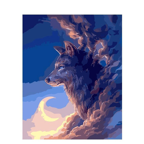 Wolf In The Clouds - Animals Paint By Numbers